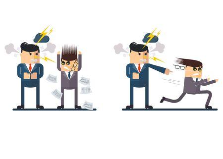 jefe enojado: Jefe enojado grita en los empleados. jefe insatisfechos corre el subordinado. Persona gritando. Imagen conceptual del trabajo en la oficina. Los objetos aislados sobre un fondo blanco. ilustración vectorial plana.