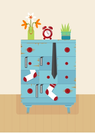 vintage furniture: Old blue dresser for clothes. Furniture for living room and bedroom. Vintage furniture. Retro furniture. Objects isolated on a white background. Flat vector illustration.