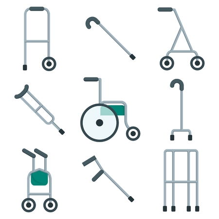 assist: Wide variety of walkers for patients to use to assist them with their mobility. Objects isolated on a white background. Flat vector illustration.