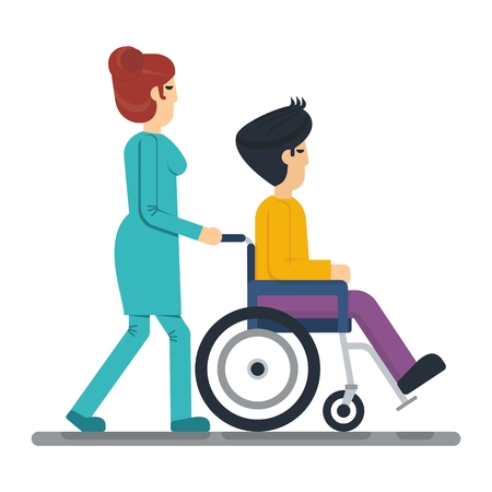 black haired: Young woman health strolling with young man with black haired man in wheelchair. Objects isolated on a white background. Flat vector illustration.