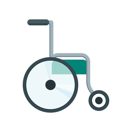 physical impairment: Color icon of wheelchair. Health care equipment. Objects isolated on a white background. Flat vector illustration.