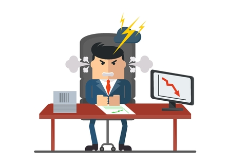 dissatisfied: Angry boss is dissatisfied with results. Relationship between the superior and subordinate. Conceptual image of working in the office. Objects isolated on a white background. Flat vector illustration. Illustration