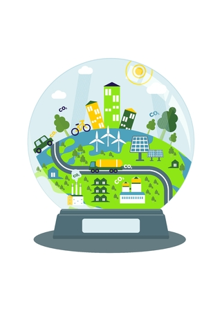 purification: Glass ball with a conceptual image of the good environmental. Objects isolated on a white background. Flat vector illustration.
