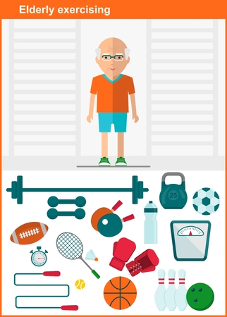 Elderly man in a sports hall. A set of sports equipment. Active lifestyle. Elderly exercises. Objects isolated on a white background. Flat vector illustration.