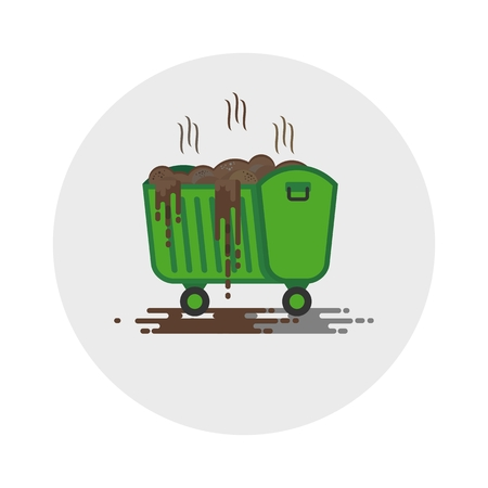 hazardous waste: Dirty trash can. Toxic waste. Chemical contamination.Objects isolated on a white background. Flat vector illustration. Illustration