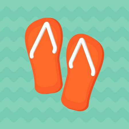 flipflops: Pair of bright orange flip-flops on a blue background of ocean waves. Objects isolated on background. Flat and cartoon vector illustration.