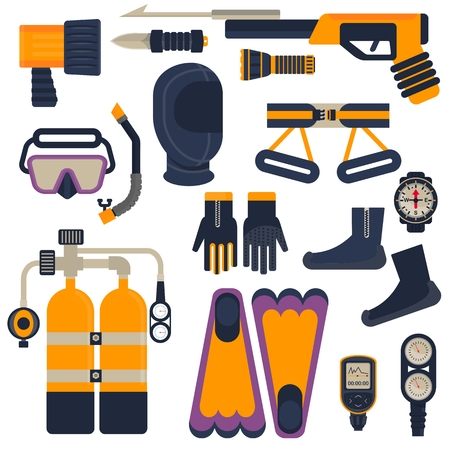 Set of diving equipment. Objects isolated on background. Flat and cartoon vector illustration. Vectores