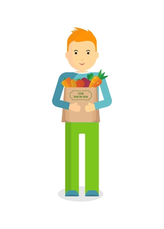 Man holding craft paper bag with fresh vegetables. Objects isolated on white background. Flat and cartoon vector illustration.