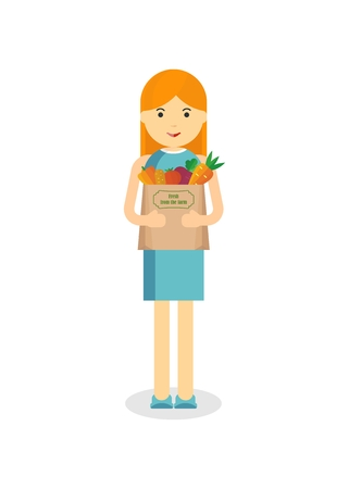 Woman holding craft paper bag with fresh vegetables. Objects isolated on white background. Flat and cartoon vector illustration. Vettoriali