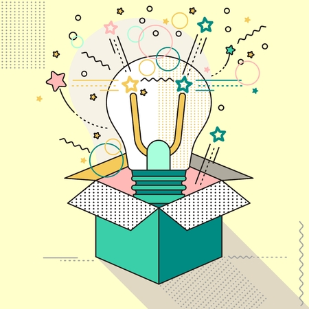 Outside the box lamp. Think outside the box creative idea. Lamp lines icon.Objects isolated on background. Flat and cartoon vector illustration.
