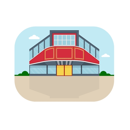polly: Shopping center with cinema facade. Shops stores and supermarket buildings. Cartoon flat vector illustration. Objects isolated on a background. Illustration