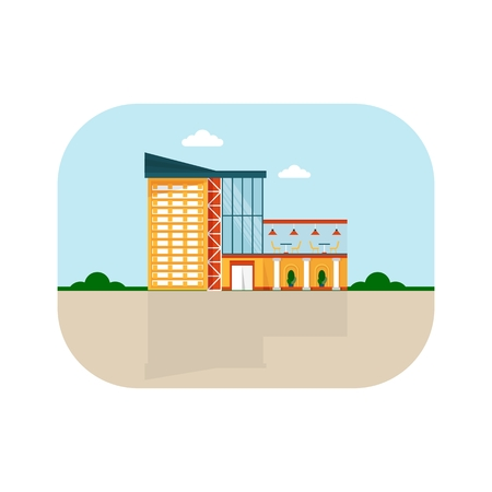 polly: Shopping center with facade cafe. Shops stores and supermarket buildings. Cartoon flat vector illustration. Objects isolated on a background.