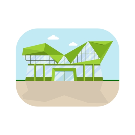 polly: Shopping center with lowpolly roof and modern facade. Shops stores and supermarket buildings. Cartoon flat vector illustration. Objects isolated on a background. Illustration