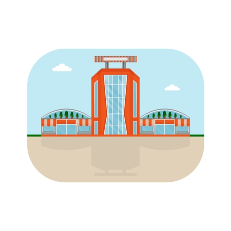 polly: Shopping center with orange facade. Shops stores and supermarket buildings. Cartoon flat vector illustration. Objects isolated on a background.