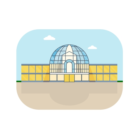 shopping center interior: Shopping center with round roof and modern glass facade. Shops stores and supermarket buildings. Cartoon flat vector illustration. Objects isolated on a background. Illustration
