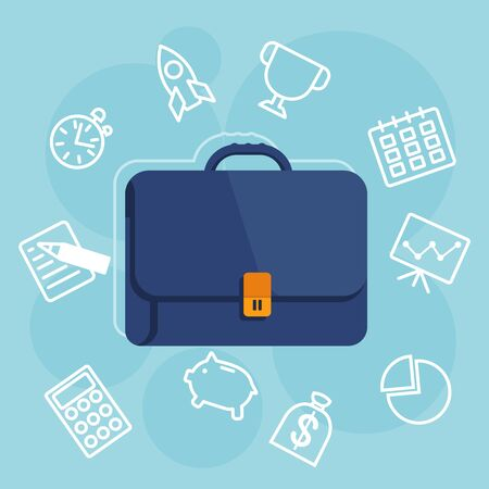 the reporting: Suitcase color image. Conceptual image of business, finance, reporting, business world. Cartoon flat vector illustration. Objects isolated on a white background. Illustration