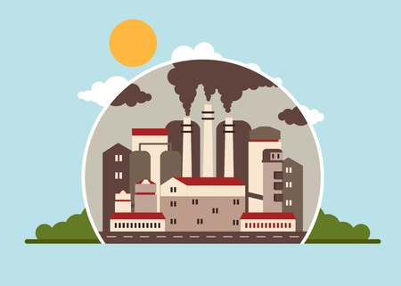 environmen: Building industrial plants polluting the environment. Toxic waste from oil extraction. Earth Day. Ecology design concept with air, water and soil pollution. Flat icons isolated vector illustration.