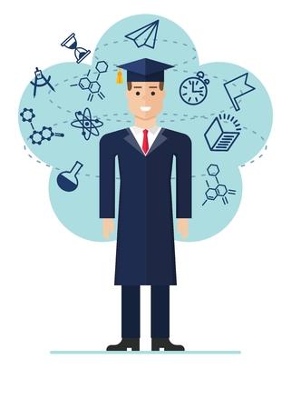 avion caricatura: imagen Estudiante graduado con iconos de la ciencia. ilustración vectorial de dibujos animados plana. Los objetos aislados sobre un fondo.