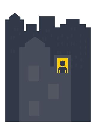 hombre solo: noche hombre solitario. Los objetos aislados sobre un fondo blanco. ilustración vectorial plana. Vectores