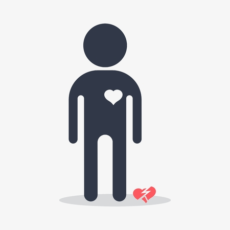 Man with broken heart. Objects isolated on a white background. Flat vector illustration.