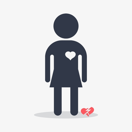 separated: Woman with broken heart. Objects isolated on a white background. Flat vector illustration.