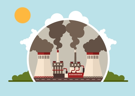 pollutants: Thermal power plants. Purification of air from pollutants, dirt and dust. The struggle for the improvement of environmental quality. Cartoon flat vector illustration. Objects isolated on background.