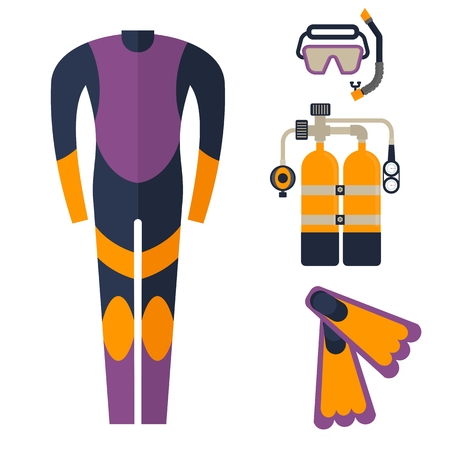 wetsuit: Wetsuit, mask, snorkel and fins for diving. Cartoon flat vector illustration. Objects isolated on a white background.