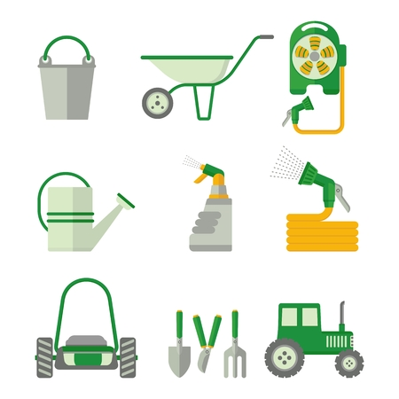 weeder: Set of farmer tools. Objects isolated on background. Flat and cartoon vector illustration.