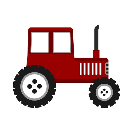 Flat tractor on white background. Red tractor icon. Objects isolated on background. Flat and cartoon vector illustration.