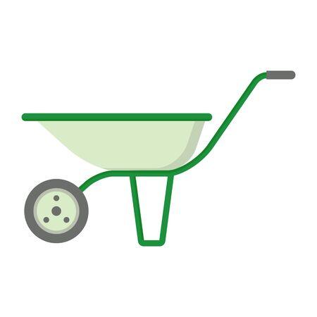 agricultura: Farmer garden wheelbarrow. Objects isolated on background. Flat and cartoon vector illustration.