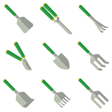 agricultura: Farmer grass cutting equipment. Objects isolated on background. Flat and cartoon vector illustration.