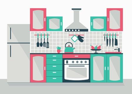 intérieur de la cuisine moderne. Cartoon vecteur plat illustration. Objets isolés sur un fond blanc.