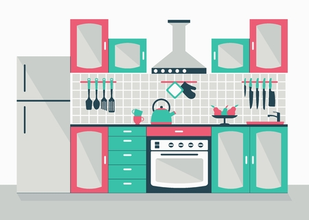 modern kitchen interior: Modern kitchen interior. Cartoon flat vector illustration. Objects isolated on a white background.