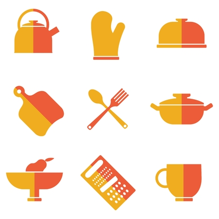 skimmer: Set of kitchen utensils icons. Cartoon flat vector illustration. Objects isolated on a white background. Illustration