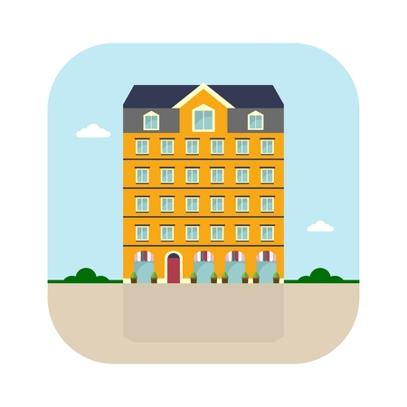 Yellow apartment house. Cartoon flat vector illustration. Objects isolated on a white background.