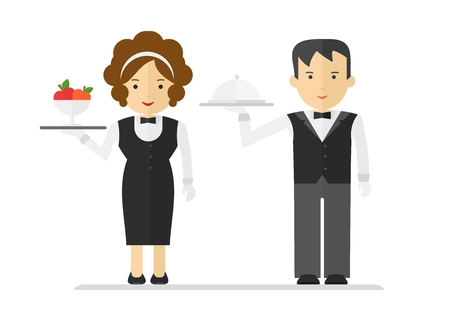 alcohol server: Waitress and waiter in black suit. Cartoon flat vector illustration. Objects isolated on a white background.