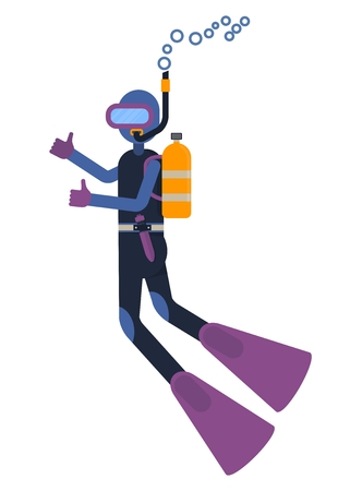 Diver swims under water. Scuba diving sport and tourist attraction. Cartoon flat vector illustration. Objects isolated on a white background. Illustration