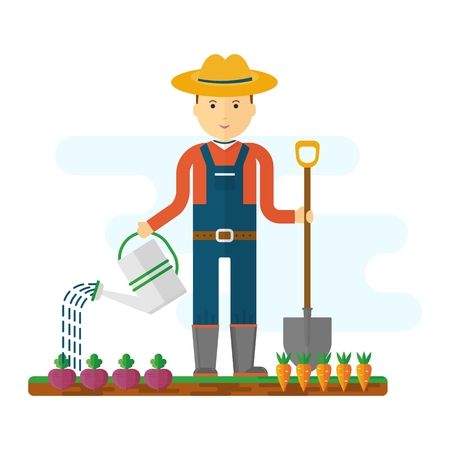 plant stand: Farmer at work in the field. The beds with vegetables, garden equipment, tools, and fresh vegetables. Objects isolated on background. Flat and cartoon vector illustration.