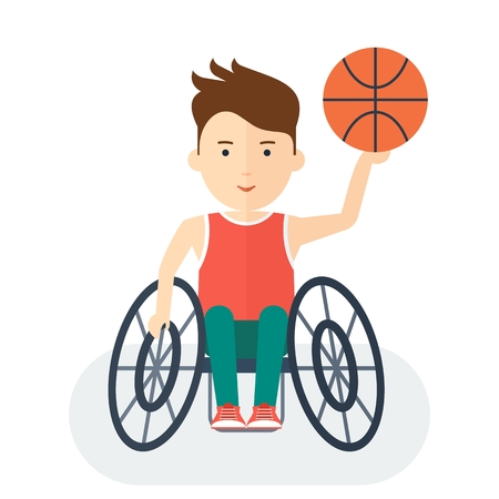 handicapped person: Disabled yang athlete in wheelchair with ball for basketball. Handicapped person. Handicapped athlete. Objects isolated on background. Flat cartoon vector illustration. Illustration