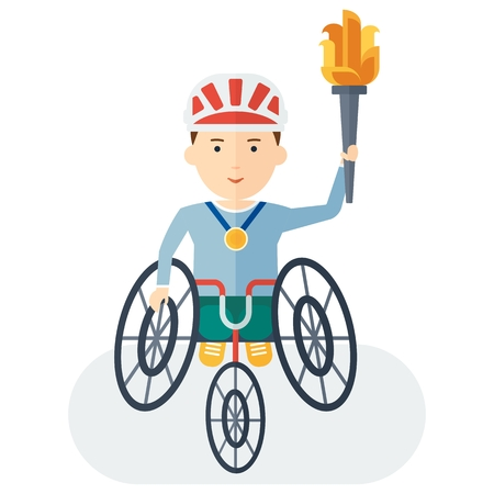 intensity: Disabled yang athlete in wheelchair holding torch. Handicapped person. Handicapped athlete. Objects isolated on background. Flat cartoon vector illustration. Illustration