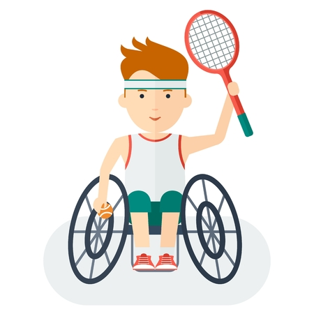 handicapped: Disabled yang athlete in wheelchair play tennis. Keep a tennis racket and tennis ball. Handicapped person. Handicapped athlete. Objects isolated on background. Flat cartoon vector illustration.