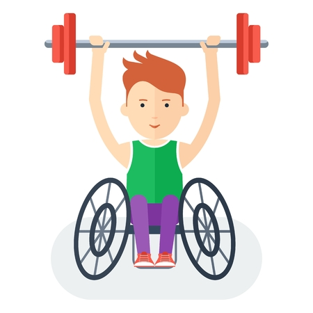 handicapped person: Disabled yang athlete in wheelchair exercising with barbell. Handicapped person. Handicapped athlete. Objects isolated on background. Flat cartoon vector illustration. Illustration