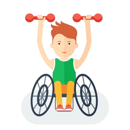 handicapped person: Disabled yang athlete in wheelchair exercising with dumbbells. Handicapped person. Handicapped athlete. Objects isolated on background. Flat cartoon vector illustration.