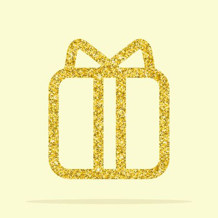 privilege: Golden gift. Element for greeting cards for the wedding, new year, birthday, holiday, celebration. Flat vector illustration. Objects isolated on a background.