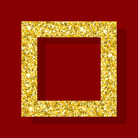 privilege: Golden square frame. Element for greeting cards for wedding, new year, birthday, holiday, celebration. Flat vector illustration. Objects isolated on a background.