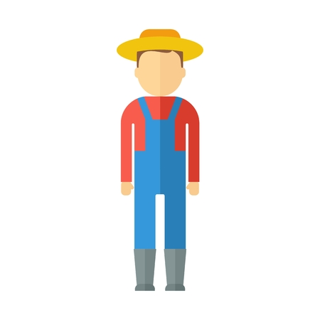 plant stand: Farmer man dressed in boots, hat, overalls, shirts. Objects isolated on background. Flat and cartoon vector illustration. Illustration