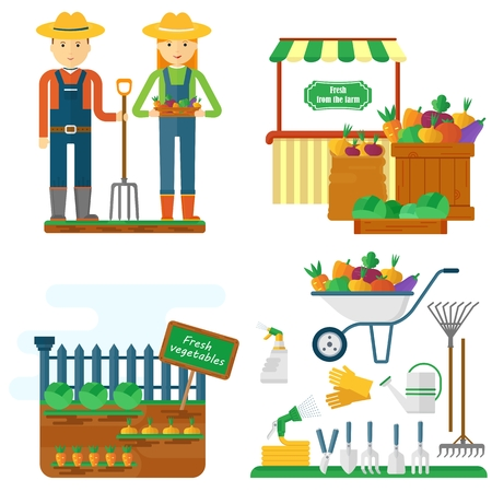Images of the life and work of farmers. Garden tools, work in the field, vegetables, beds, soil, crop. Objects isolated on background. Flat and cartoon vector illustration.