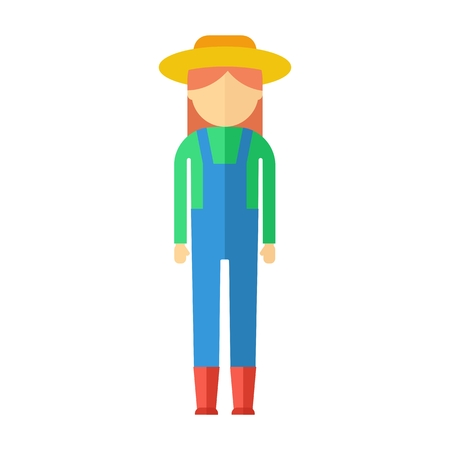 plant stand: Farmer woman dressed in boots, hat, overalls, shirts. Objects isolated on background. Flat and cartoon vector illustration.
