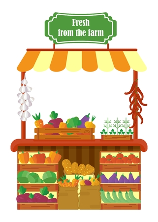 super market: Farm market shop. Sale fresh vegetables in boxes and bags. Objects isolated on background. Flat and cartoon vector illustration.