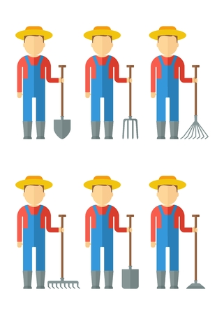 plant stand: Set of farmer man dressed in boots, hat, overalls, shirts with gardner equipment. Objects isolated on background. Flat and cartoon vector illustration. Illustration
